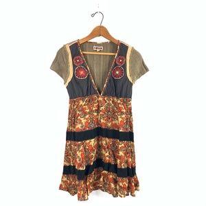FREE PEOPLE V-Neck Floral Knit Boho Shift Dress